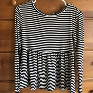 Urban Outfitters Ribbed Stripe Peplum Long Sleeve